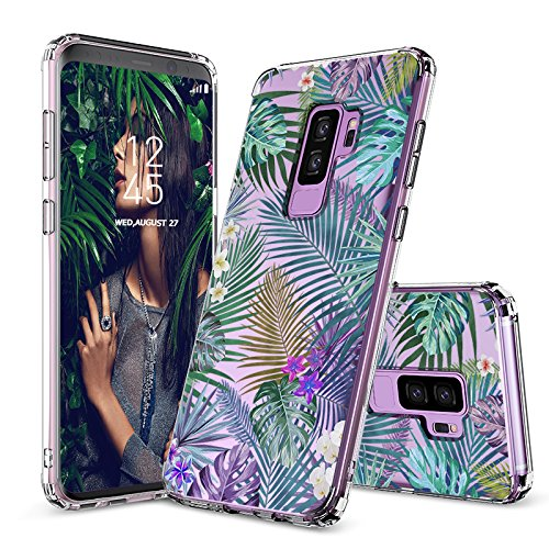 Galaxy S9 Plus Case, Galaxy S9 Plus Case for Girls, MOSNOVO Tropical Palm Leaves Printed Transparent Clear Design Plastic Case with TPU Bumper Protective Case Cover for Samsung Galaxy S9 Plus (2018)