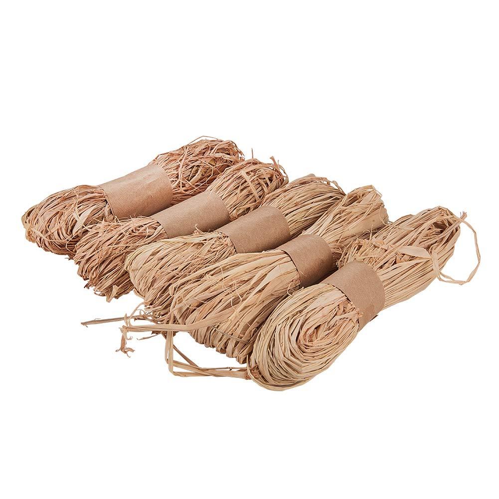 PH PandaHall Natural Raffia Grass - Raffia Ribbon Perfect for Crafts Weaving or Bouquets Decoration, 5 Bundles wh-PH-DIY-WH0063-11