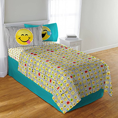 Emoji 3 Pc Microfiber Sheet Set with Pillowcase - Twin