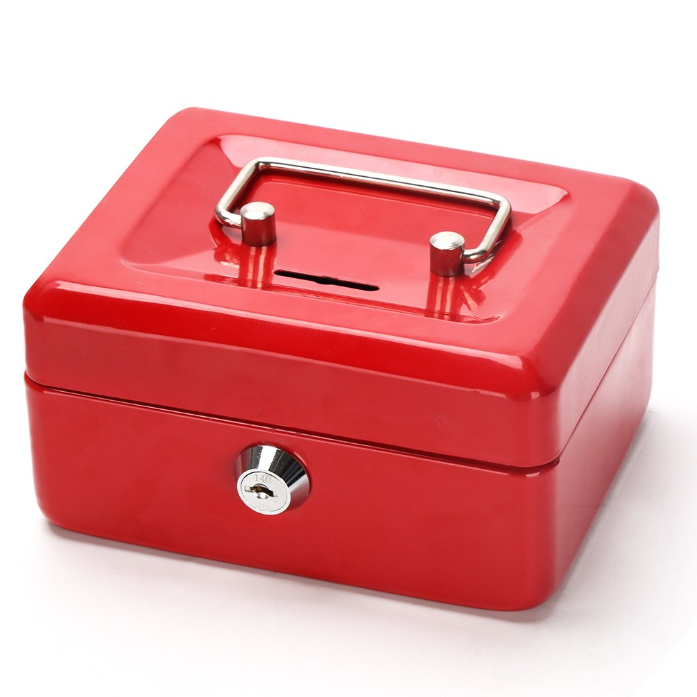 Cash Box with Slot for Kids, Decaller Small Money Box with Money Tray & Key Lock, 6 1/5'' x 5'' x 3'', Red, QH1508XS