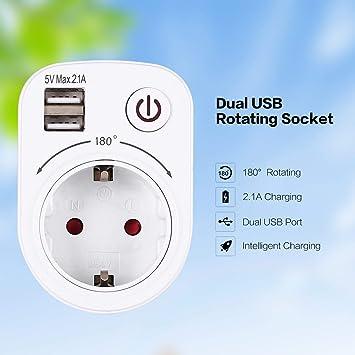 WOSOSYEYO 5V 2.1A eléctrico con Doble Puerto USB Cargador ...