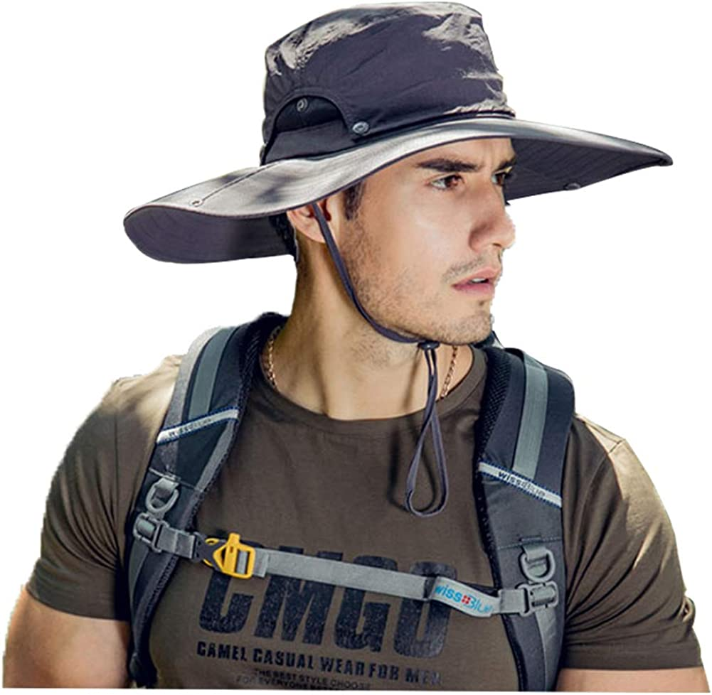 Folouse Sun Hat, Breathable Boonie Adjustable Sun Hat with UV Protection Wide Brim for Outdoor Fishing, Hiking, Safari