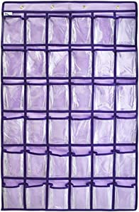 "Hanging Pocket Chart for Classroom Centers - 36 Pockets Storage Bag for Cell Phones and Calculator Holder, 23""x39"", Purple"