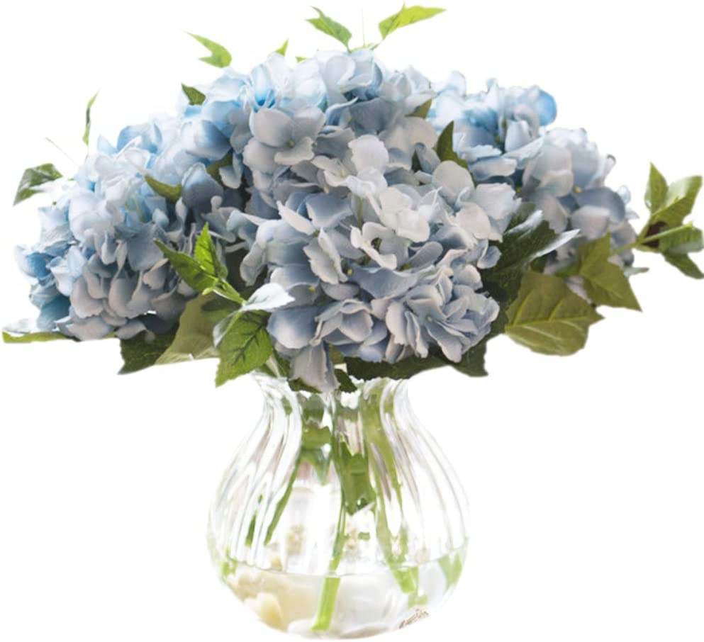 Greentime 3 Pack Artificial Blue Hydrangea Flowers Faux 17.7 Inches Hydrangea Stems for Wedding Bouquet Party Home Centerpiece Decor
