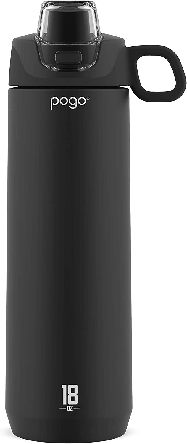 Pogo Active Stainless Steel Water Bottle with Leak Proof Silicone Straw Lid, 18 oz, Black