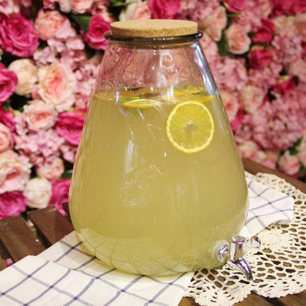 Aprilhp - Dispensador de Agua con Grifo, tarros de Cristal para Servir Bebidas frías, cócteles, Punch, Agua, Bebidas heladas: Amazon.es: Hogar
