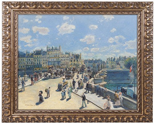 Pont Neuf 1872 Artwork by Pierre Renoir, 11 by 14-Inch, Gold Ornate Frame