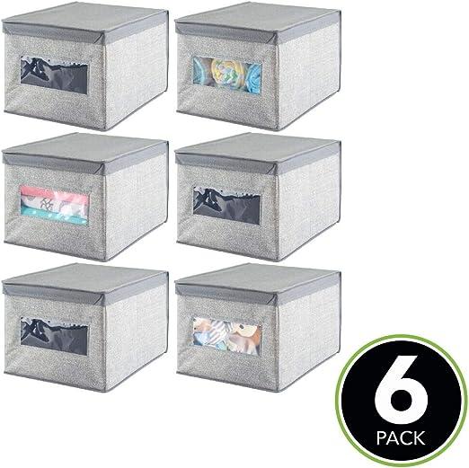 mDesign Juego de 6 cajas de tela – Cajas con tapa de polipropileno transpirable – Caja organizadora ideal como ...