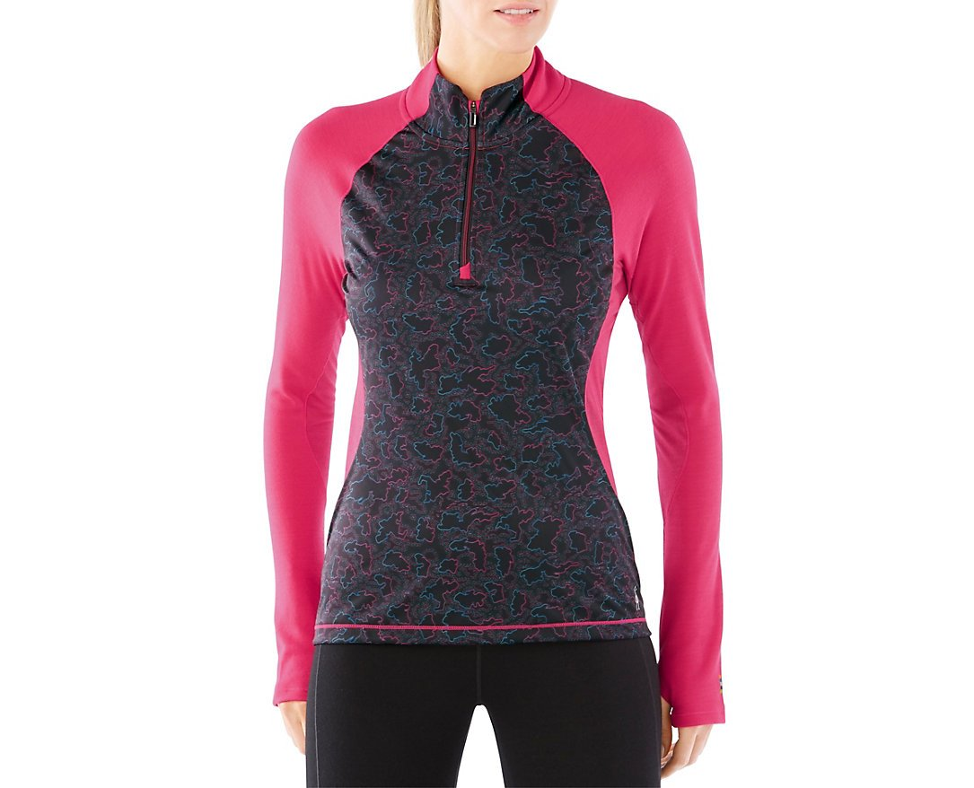 Smartwool Women's PhD Light Printed Wind 1/2 Zip (Potion Pink) X-Small by SmartWool