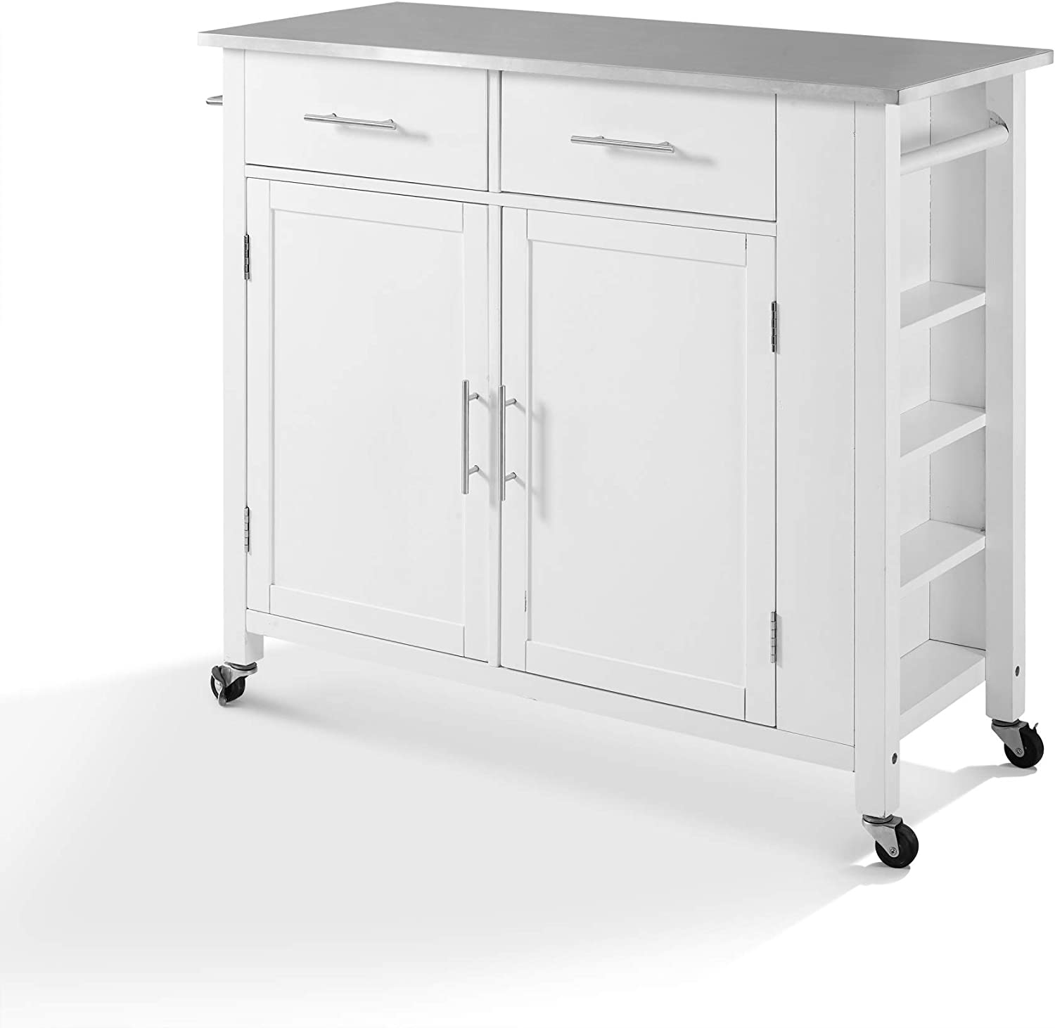 Crosley Savannah Stainless Steel Top Full-Size Kitchen Island/Cart White/Stainless Steel