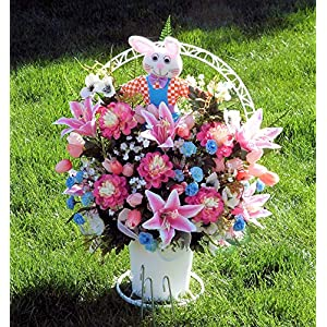 Easter Cemetery Basket, Cemetery Arrangement with Pink Lilies, Easter Cemetery Arrangement, Cemetery Arrangement 13
