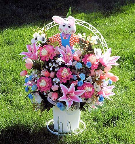 Easter Cemetery Basket, Cemetery Arrangement with Pink Lilies, Easter Cemetery Arrangement, Cemetery Arrangement - Lily Basket Arrangement
