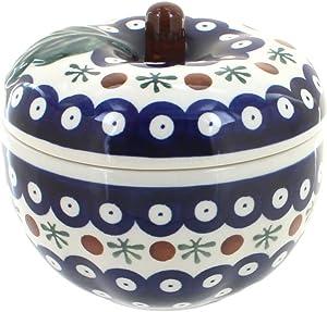 Blue Rose Polish Pottery Nature Apple Baker