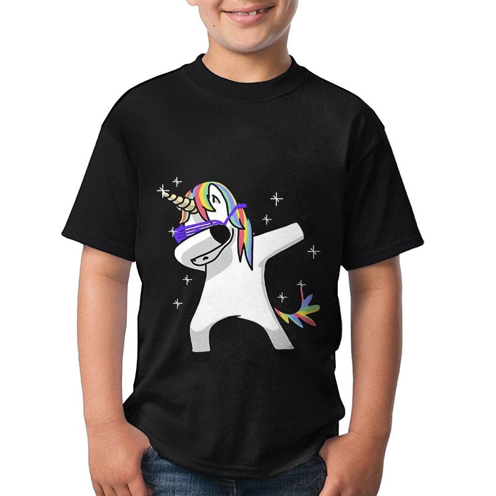 Dabbing Cute Unicorn Kids Sports Shirts 3D Printed Tee Short Sleeve Tops X-Large