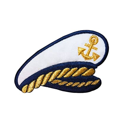 2cf081902e093 Image Unavailable. Image not available for. Color  ID 2665 Sea Ship Captain  Hat Patch Yacht Boat Cap Embroidered Iron On Applique