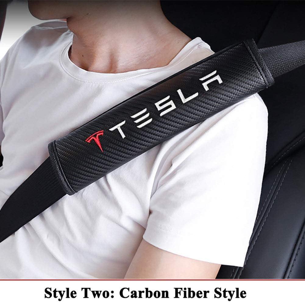 AniFM Lot de 2 Housses de Ceinture de s/écurit/é pour Ceinture de s/écurit/é en Fibre de Carbone Sportive pour Tesla Model S Mod/èle X Mod/èle 3