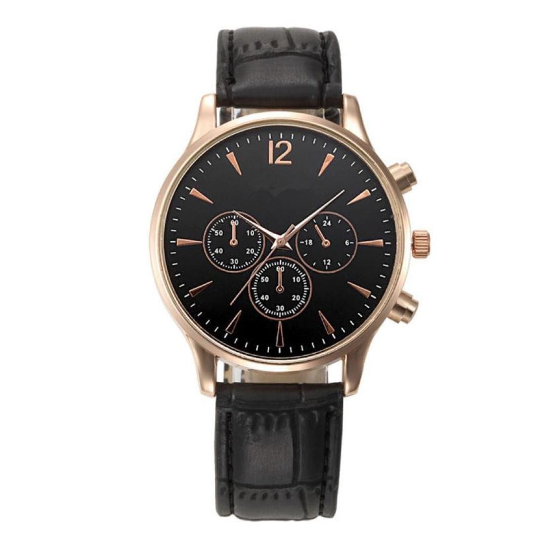 Pandaie Watch Promotion! Luxury Fashion Crocodile Faux Leather Mens Analog Watch Wrist Watches (Black)