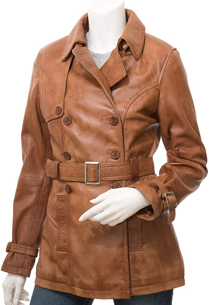 Women Tan Brown Pea Coat Double Breasted Real Leather Jacket