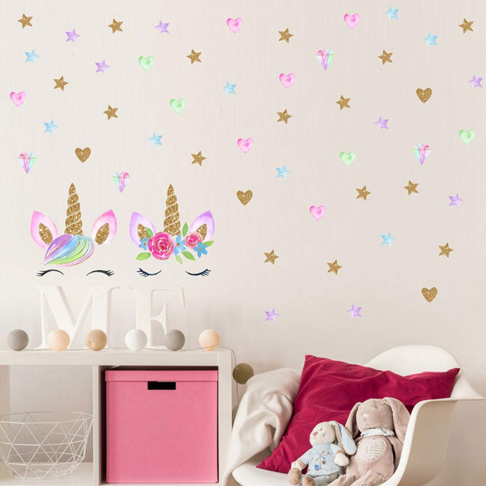 2 Pcs Unicorn Wall Decal, Girls Bedroom Home Decor, Unicorn Wall Stickers Decorations, Wall Decor with Stars