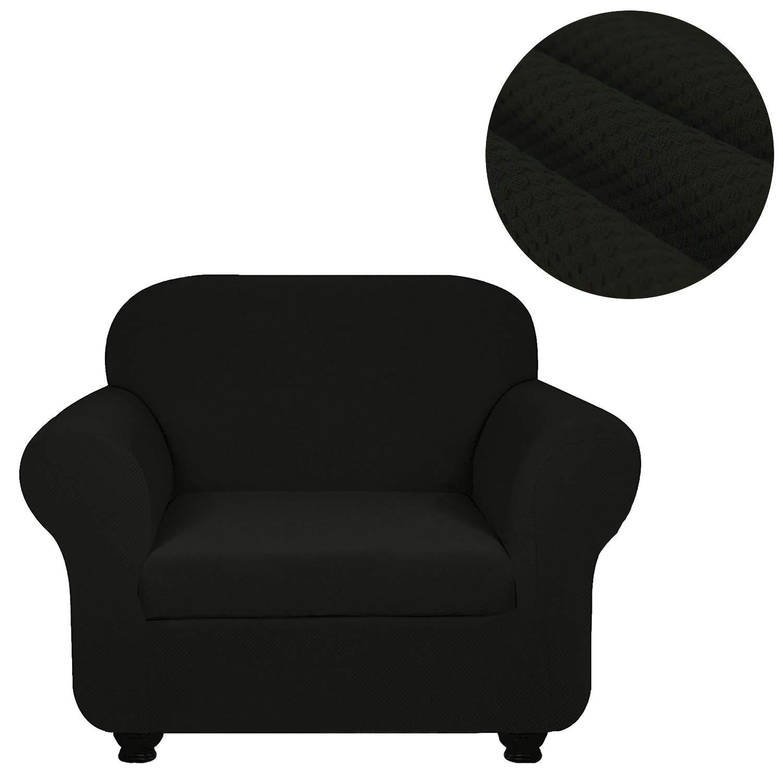 ANJUREN ソファ ラブシート アームチェア 椅子 スリップカバー 2ピース ニット ジャカード ポリエステル リビングルーム B07JG28MWB ストレッチ プロテクター 家具 ブラック スパンデックス しわ防止 日本全国 送料無料 Chair シールド 現金特価
