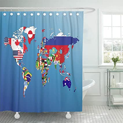 Amazon.com: Emvency Shower Curtain Set Waterproof Adjustable ...