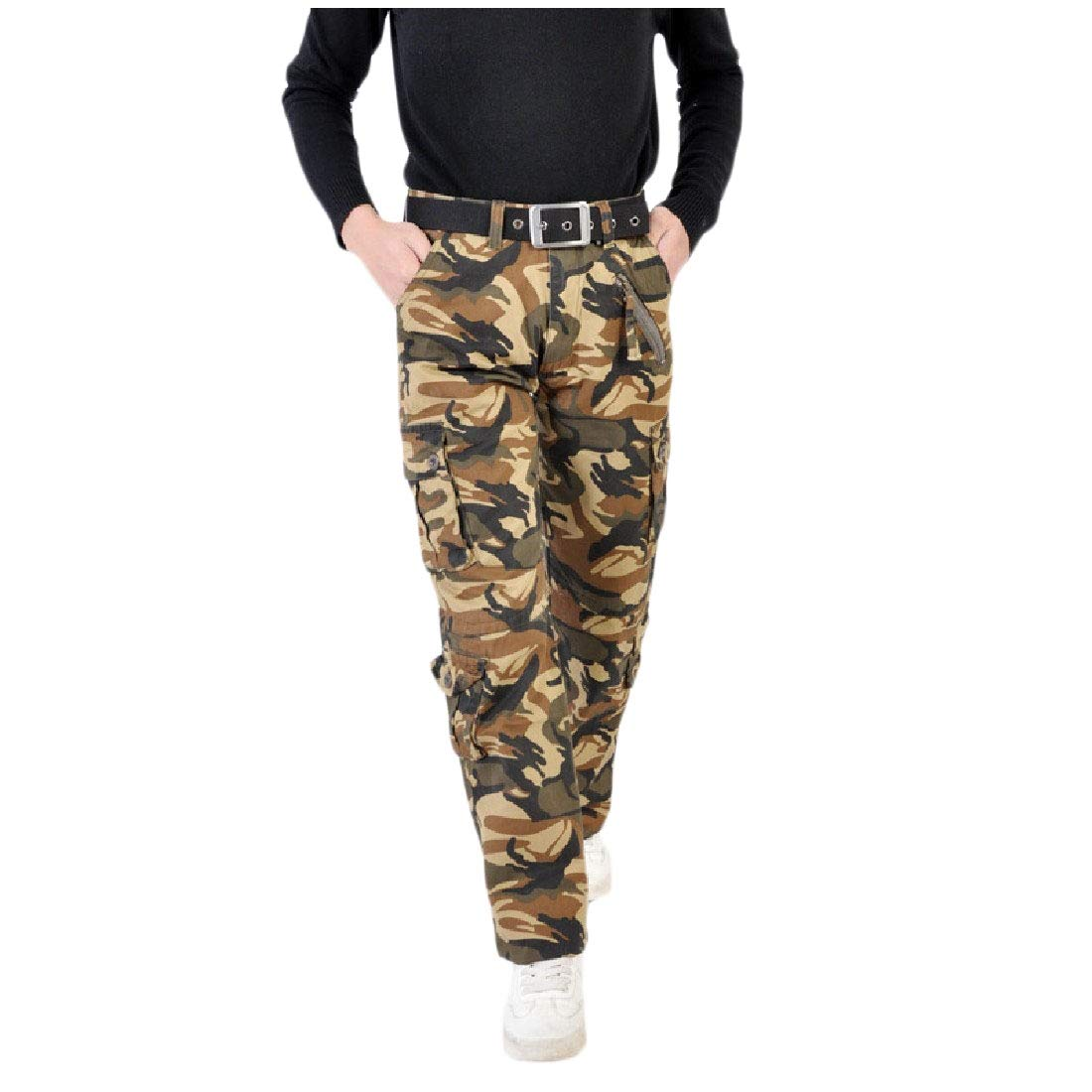 YUNY Mens Baggy Solid High Rise Cotton Outdoor Camo Print Jogger Pant AS2 34