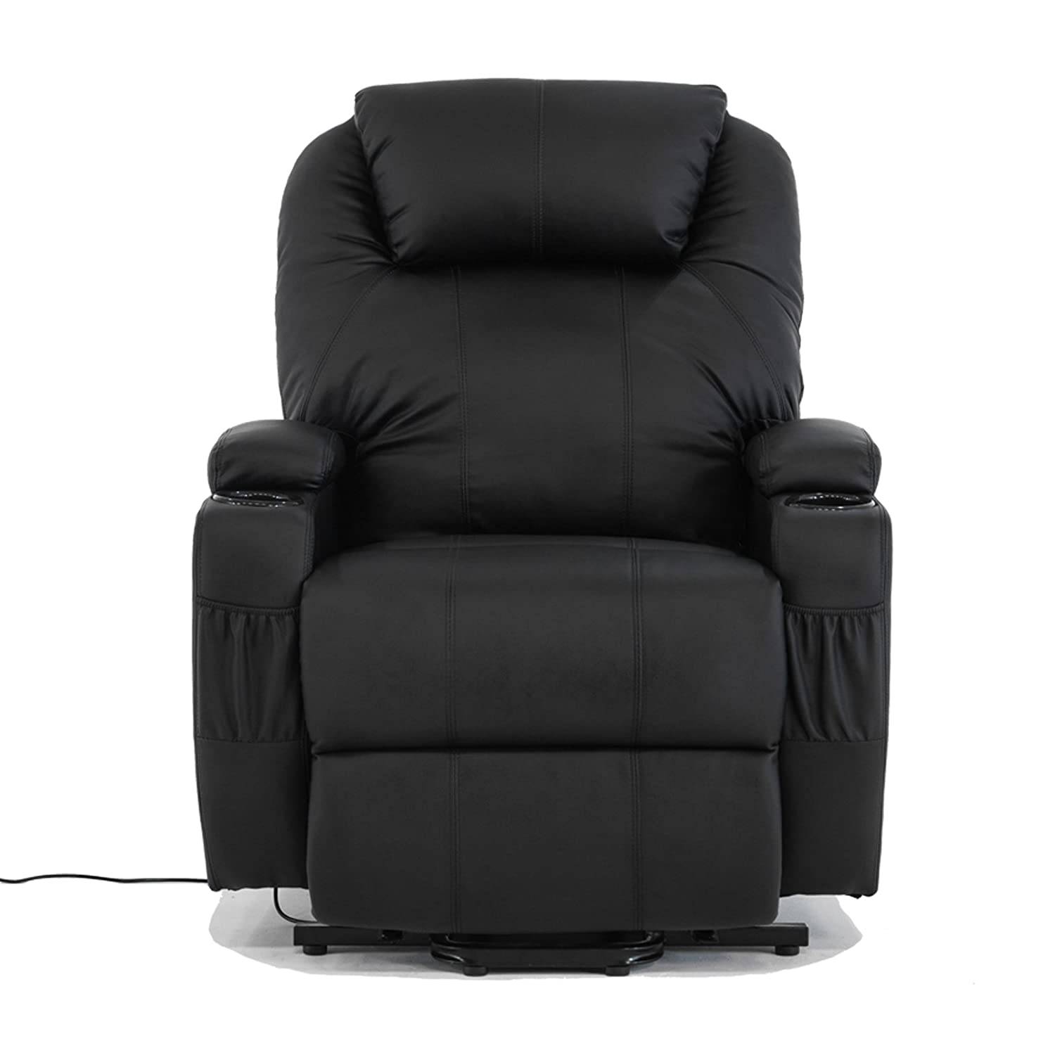 Amazon.com Power Lift Real Leather Recliner chair Wall Hugger Lounge Seat Black Kitchen u0026 Dining  sc 1 st  Amazon.com : motorised recliner armchairs - islam-shia.org