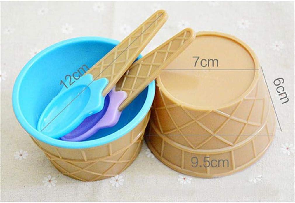 HYhy Ice Cream Bowl Spoon Set Dessert Styles Practical Sundae Dish Cup Mixing Bowl Spoon Set,blue