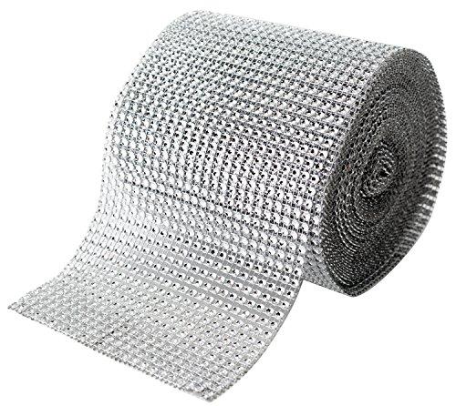 Silver Rhinestone Diamond Bling Wrap Ribbon For Wedding