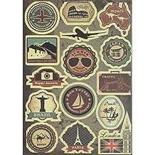 T&B Multi Countries Retro Vintage Landmark Monument Travel Airline Plane Patterns Stickers Luggage Suitcase Laptop Waterproof Stickers Children's Room Decor Labels A4 2PCS#3