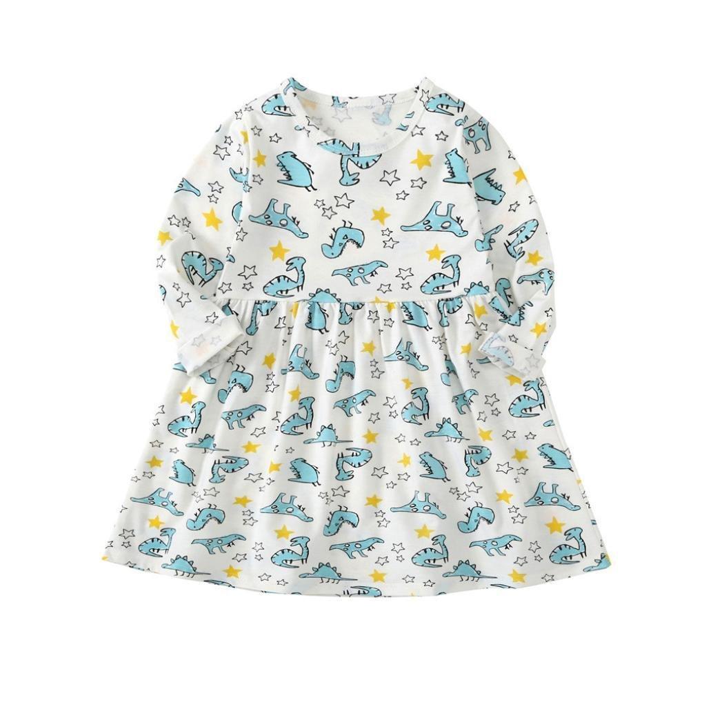 820ec05051e79 Robe de Bébé Fille Bébé Filles Enfants Infantile Dinosaure Impression Robe  Vêtements Robes Casual Robe pour ...