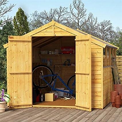 BillyOh - Cobertizo de madera superpuesta con tejado a dos aguas, ventana y puerta doble