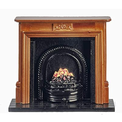 Melody Jane Dollhouse Walnut Fireplace with Fire in Black Grate Miniature Furniture 1:12: Toys & Games