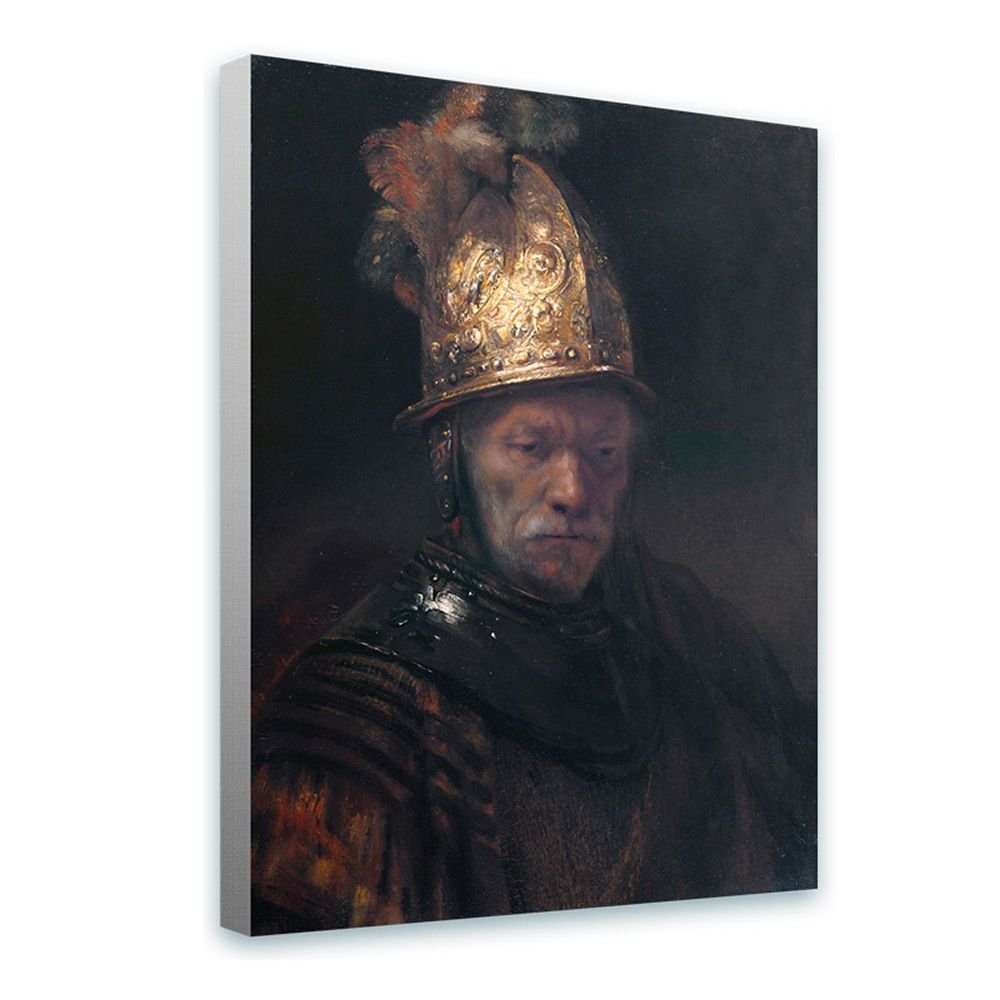 Alonline Art - Man Golden Helmet by Rembrandt   framed stretched canvas on a ready to hang frame - 100% cotton - gallery wrapped   24''x32'' - 61x81cm   Wall art home decor for living room giclee HD by Alonline Art