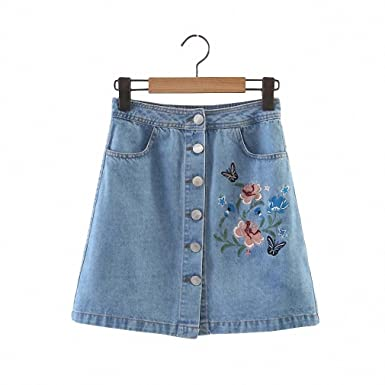 Vintage Flower Embroidery Denim Skirts Womens New Single Breasted