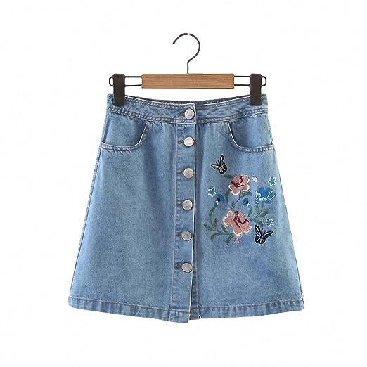 e5a171b71 Vintage Flower Embroidery Denim Skirts Womens NEW Single Breasted Mini  Skirt Summer Faldas Mid Waist Short