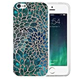 i phone 5 case gems - iPhone SE Case, LAACO Beautiful Clear TPU Case Rubber Silicone Skin Cover for iPhone 5/5S/SE - Blue -green gem floral design