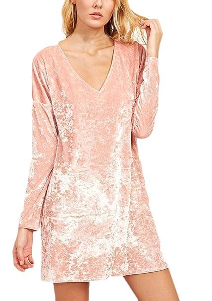 Battercake Vestidos Mujer Elegantes Moda Otoño Invierno Terciopelo Vestido De Camiseta V Casuales Mujeres Cuello Manga Larga Color Sólido Vestidos Cortos ...