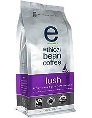 Ethical Bean Fair Trade Organic Coffee, Lush Medium Dark Roast, Whole Bean Coffee  - 340g Bag