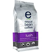 Ethical Bean Fair Trade Organic Coffee, Lush Medium Dark Roast, Whole Bean Coffee  - 340g Bag