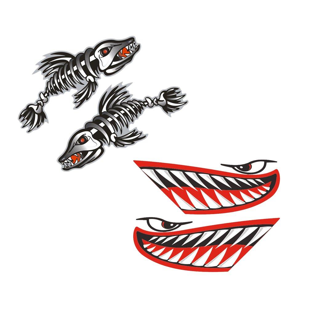 Pair Skeleton Fish Bone Boat Canoe Kayak Decals Fishing Boat Dinghy Graphics