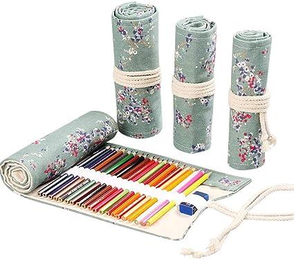 Estuche para lápices de gran capacidad, hecho a mano, de lona, con capacidad de 12,72 agujeros, gran capacidad, para dibujar o dibujar, color ciruela, 36 agujeros: Amazon.es: Oficina y papelería
