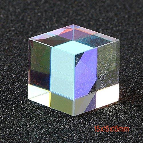 Comidox 15mm Cube Defective Cross Dichroic Prism RGB Combiner Splitter Glass Decoration 2PC