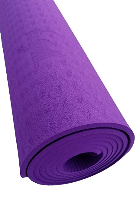 Yoga mat R-PTIL TPE eco-Friendly purple with bag or carrier, ideal workout mats for home exercise and gym, Non-Toxic, Non-Slip, Fitness Exercise Mat ...