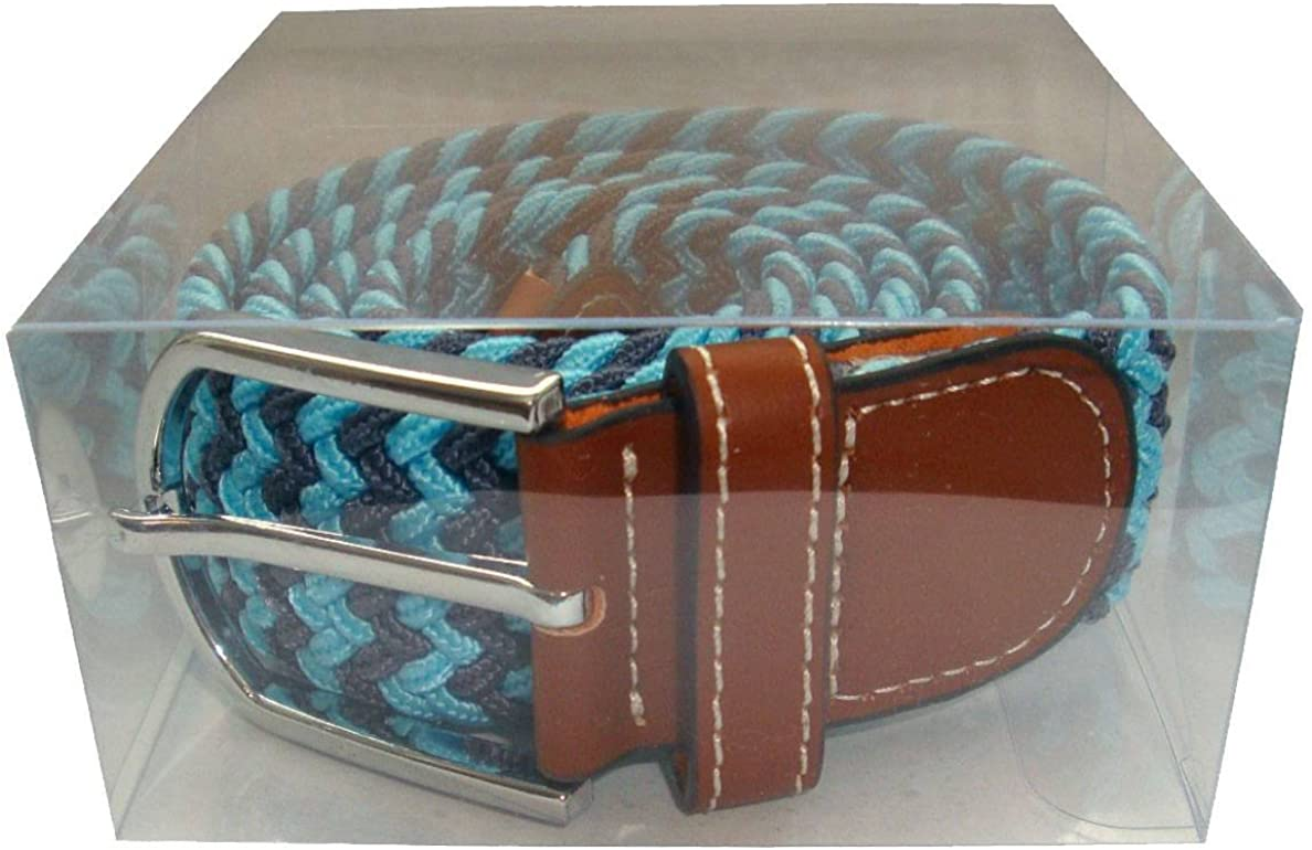 Blue//Grey Bassin and Brown Mens Two Tone Woven Belt