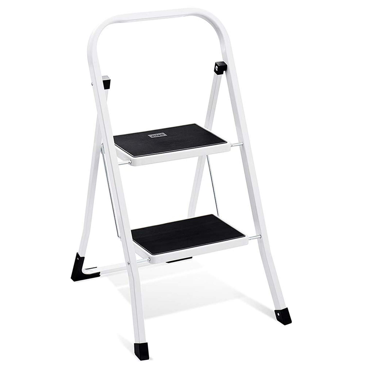 Delxo 2 Step Ladder Folding Step Stool Ladder with Handgrip Anti-Slip Sturdy and Wide Pedal Multi-Use for Household and Office Portable Step Stool Steel 330lbs White