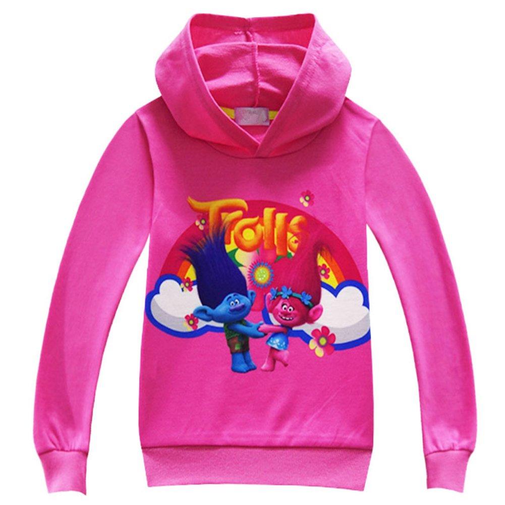 ZHBNN Trolls Girls Long Sleeve Pullover Hoodie Sweatshirt Jacket Coat (Rose,110/4-5Y)