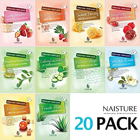 NAISTURE Collagen Facial Mask Sheet Pack - Essence Face Masks with 20 sheets - 15 Minute Application For Hydration - Made in - Face Sheet
