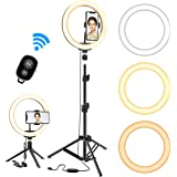 "Selfie Ring Light with Tripod Stand, GPED 10.2"" Dimmable LED Makeup Beauty Ringlight with Phone Holder for iPhone/Android/YouTube Video/Live Stream/Photography, 3 Light Modes & 10 Brightness Level"