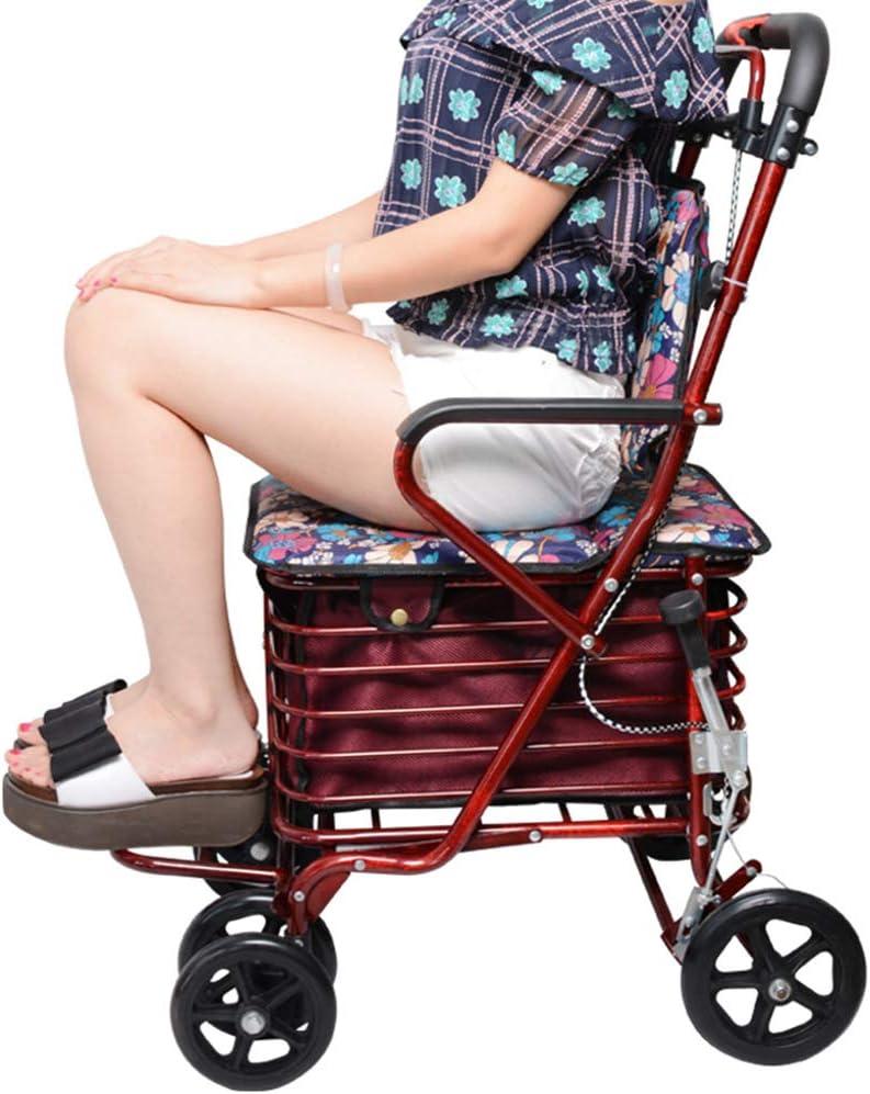 XJZHAN Mango Ergonómico Ligero para Andador De Andador Plegable con Placa De Pedal De 4 Ruedas Y Gran Canasta De Compra Ayuda para La Movilidad